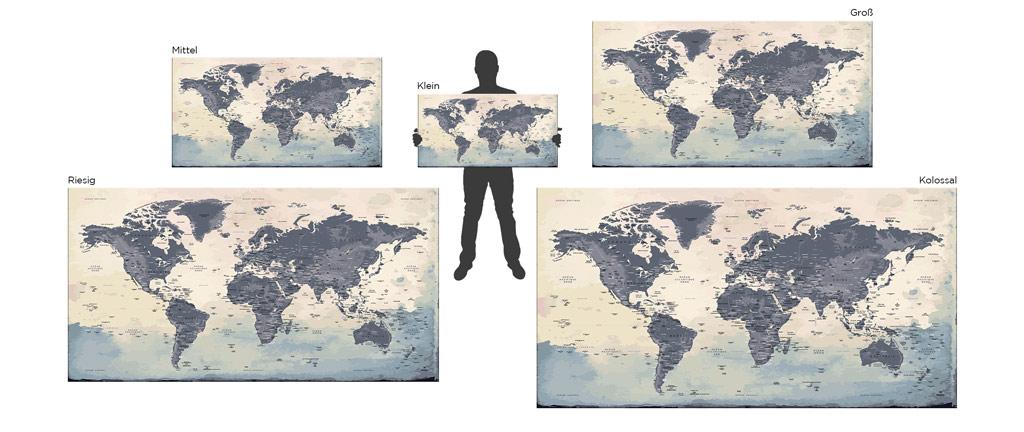Weltkartengrößen