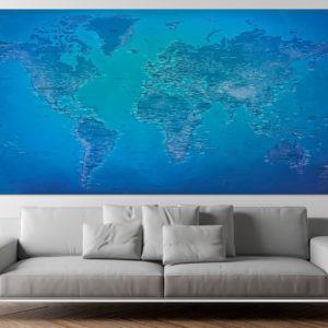 Großformatige Weltkarte – Moräne