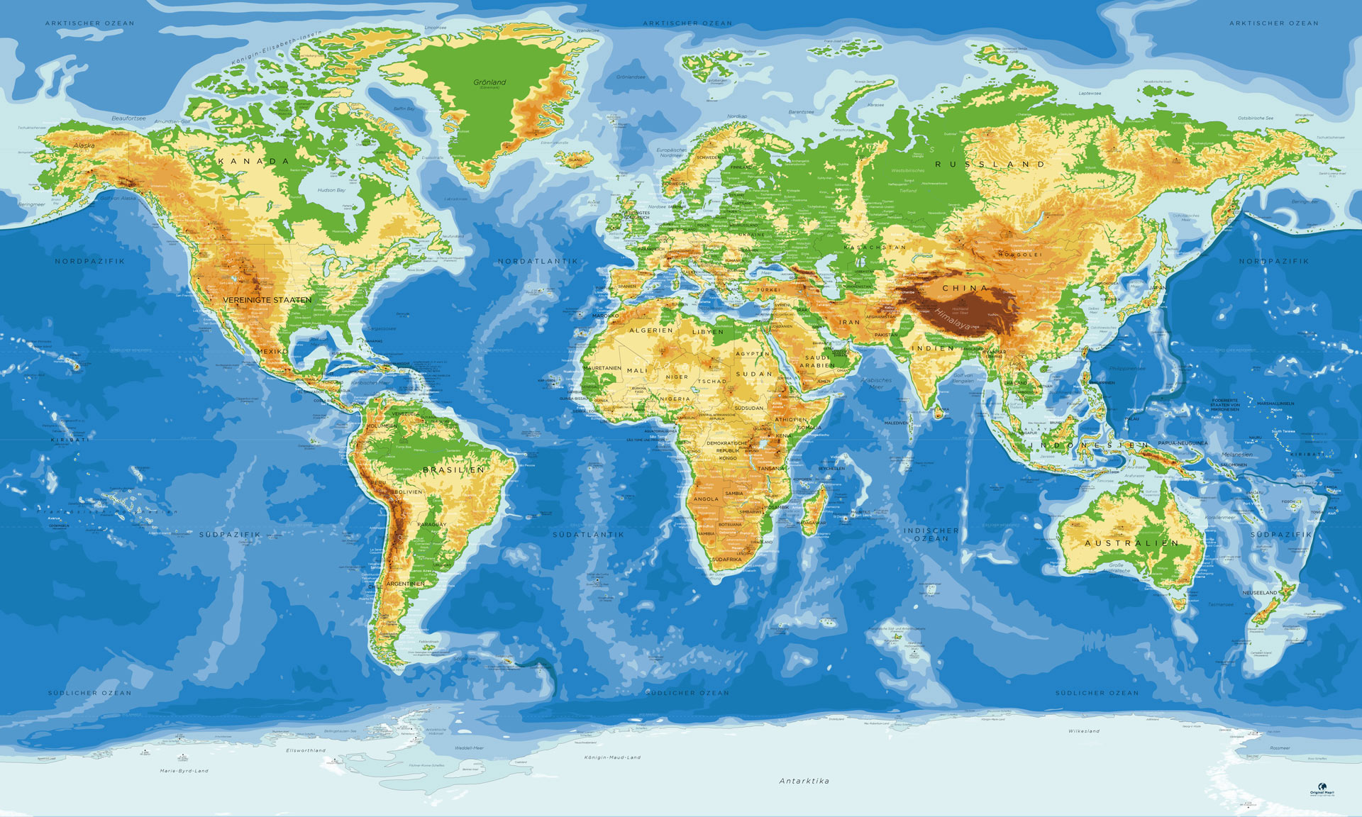 Weltkarte Antarktis