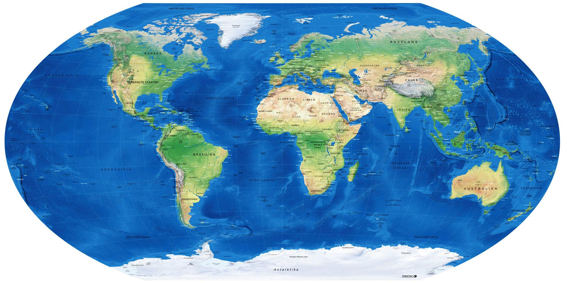 Weltkarte Winkel Tripel Projektion Mappa Mundi Winkel Tripel